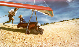 Hang glider wheeled launch