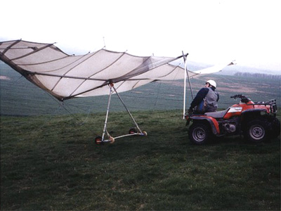 Using a quad bike to tow hang gliders up hill