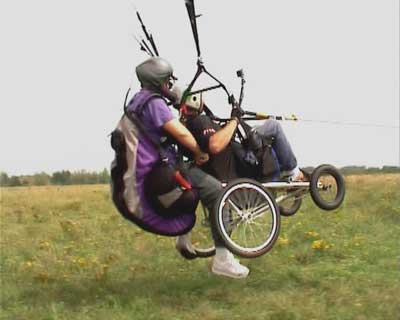 The buggy launching flown tandem.