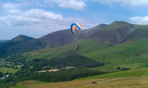 Tandem flight from Latrigg in the Lake District