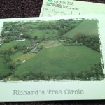 A card with a photograph of Richard's memorial tree circle