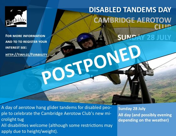 Disabled Tandems Day Advert with Postponed banner overlaid